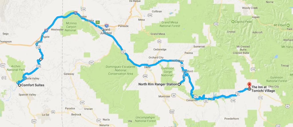 Itinéraire Moab Gunnison