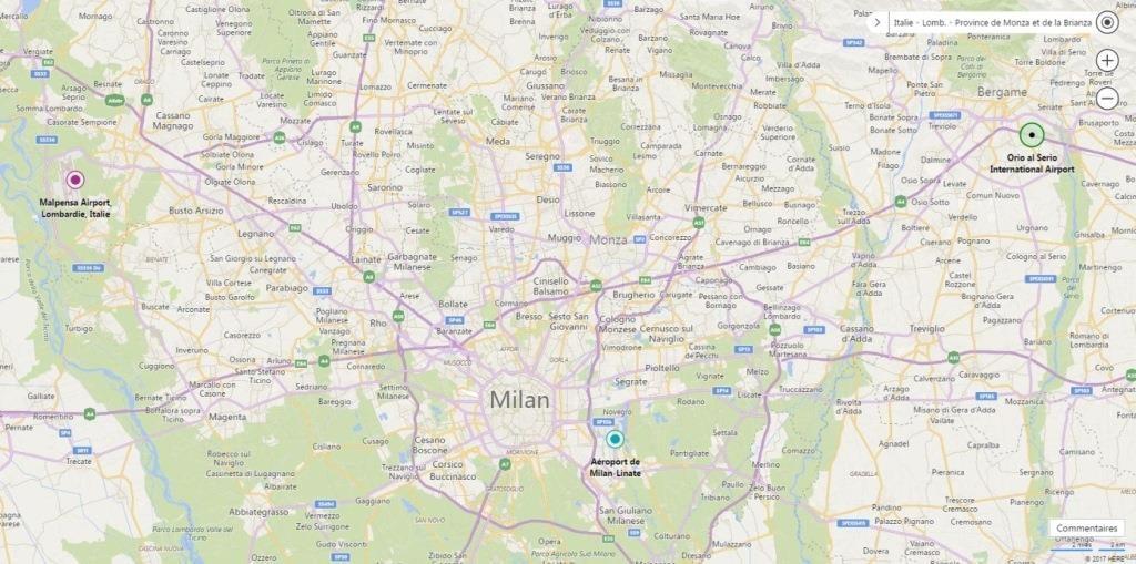 Map aéroport Milan
