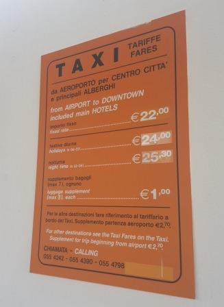 Prix taxi aéroport Florence