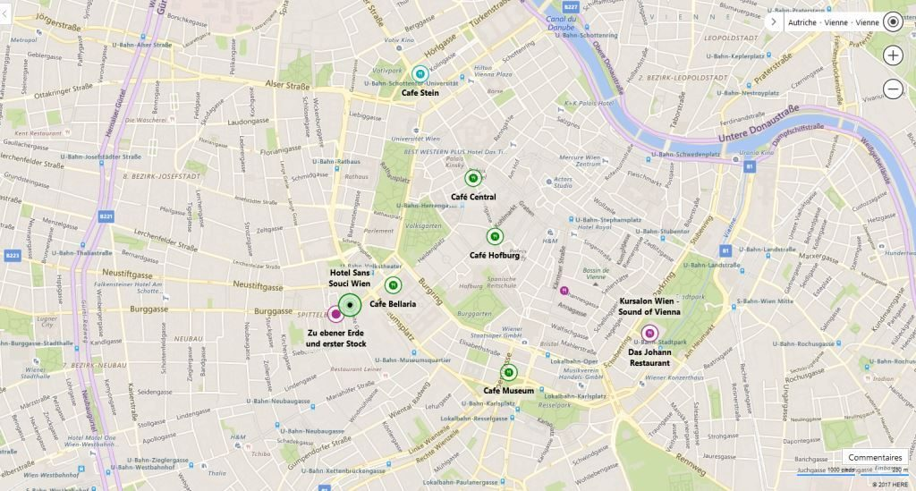 Plan cafés viennois et restaurants
