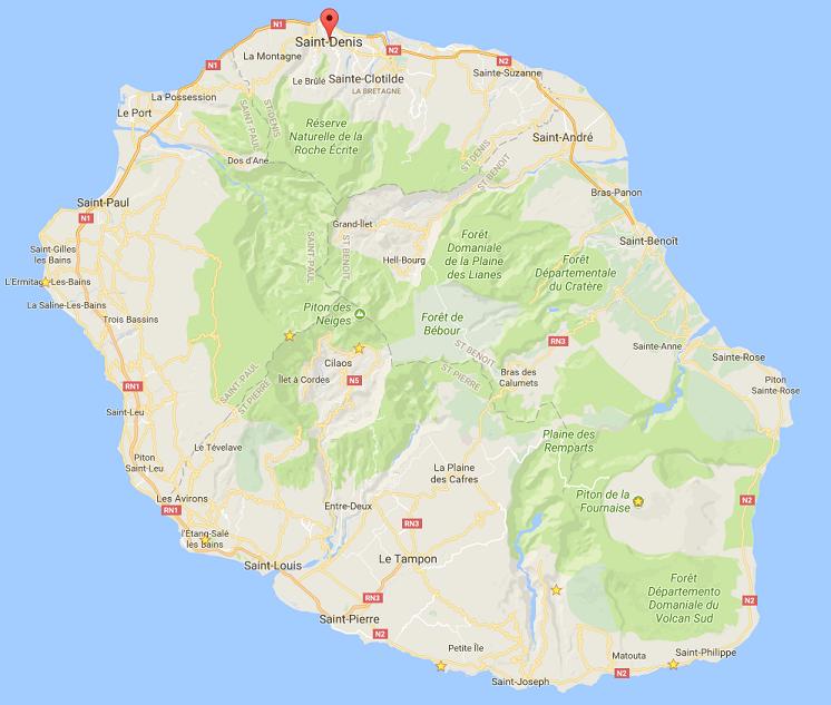 Map Réunion visites