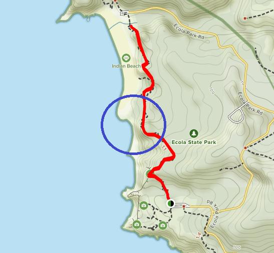 Map trail Indian Beach