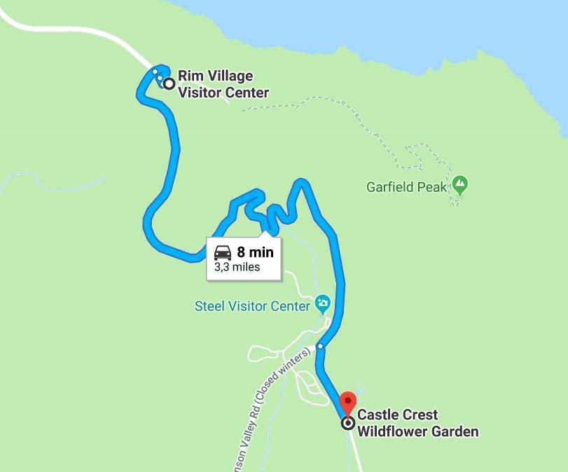 Castle Crest Wildflower garden itinéraire