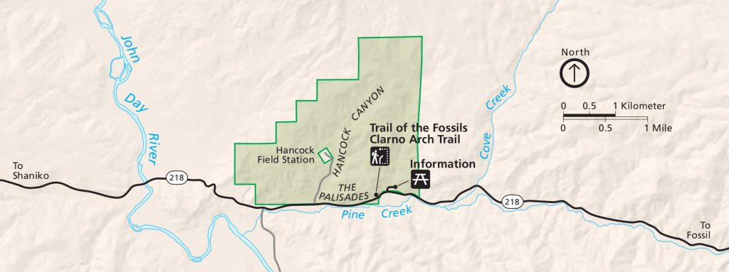john-day-fossil-beds-clarno-map