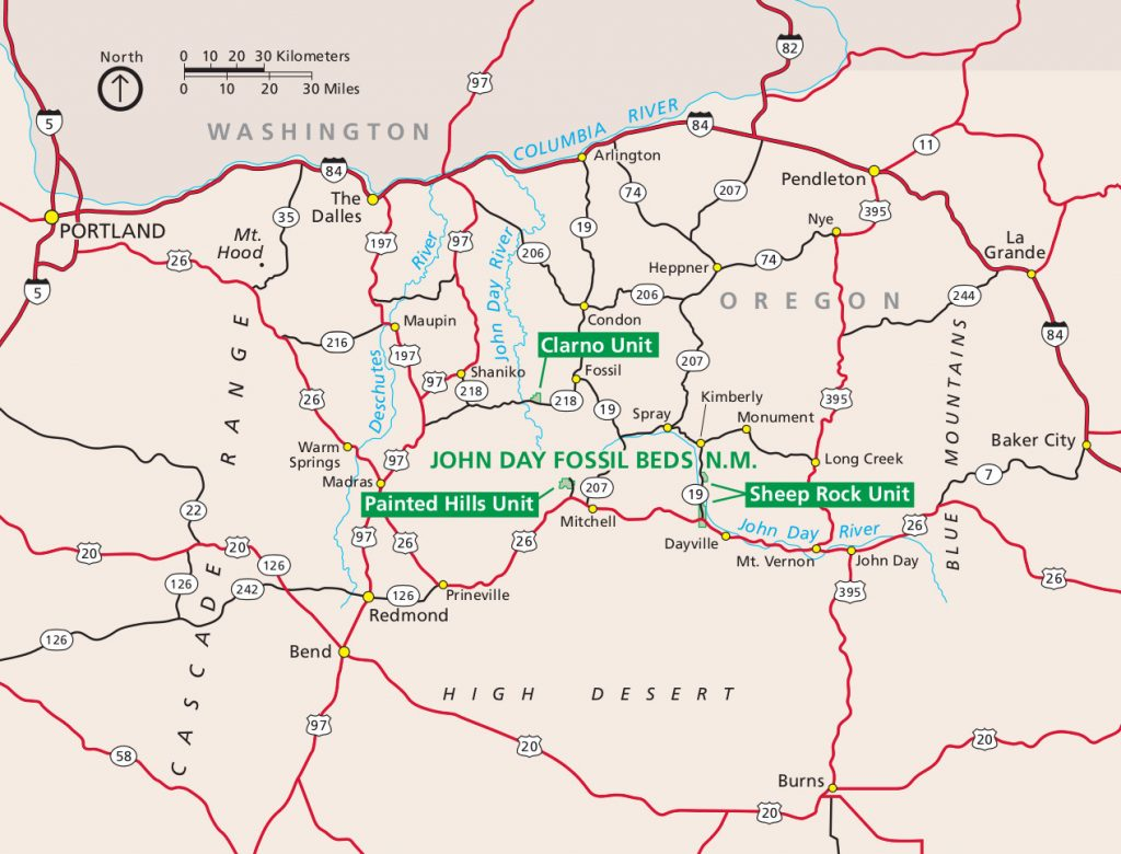 john-day-fossil-beds-map
