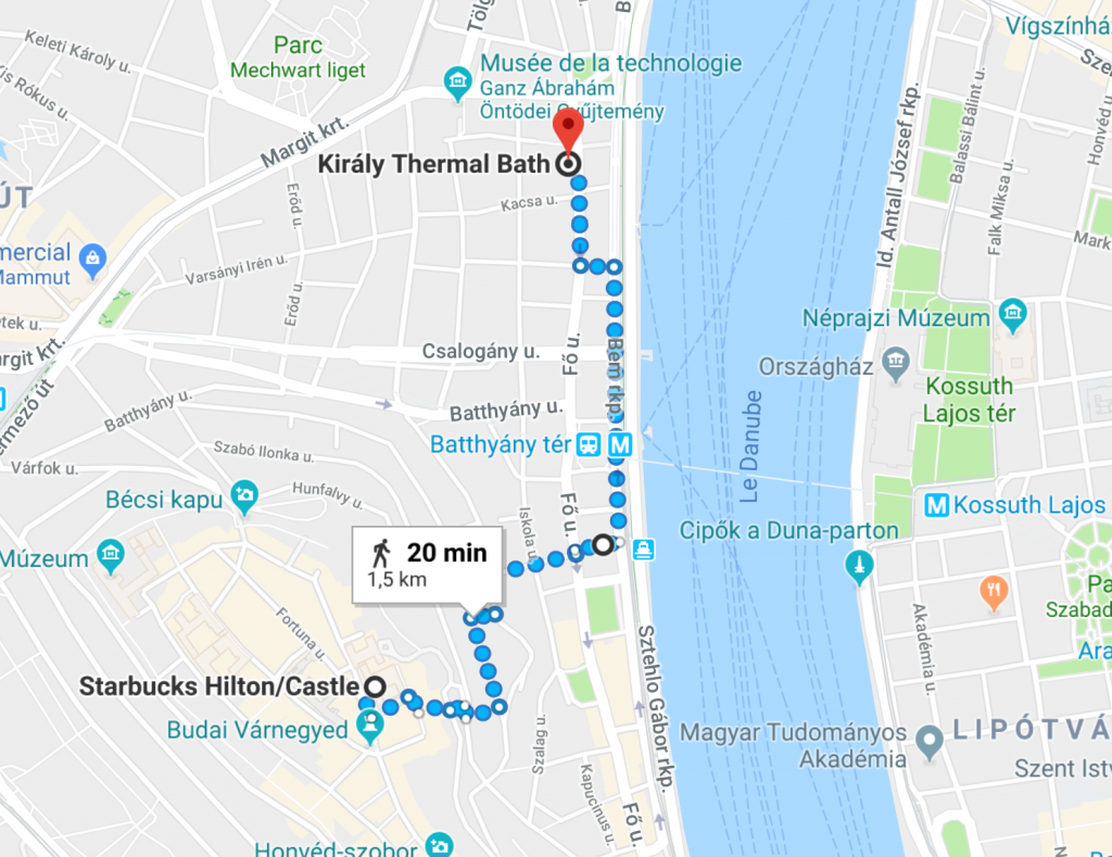Itinéraire Kiraly Baths