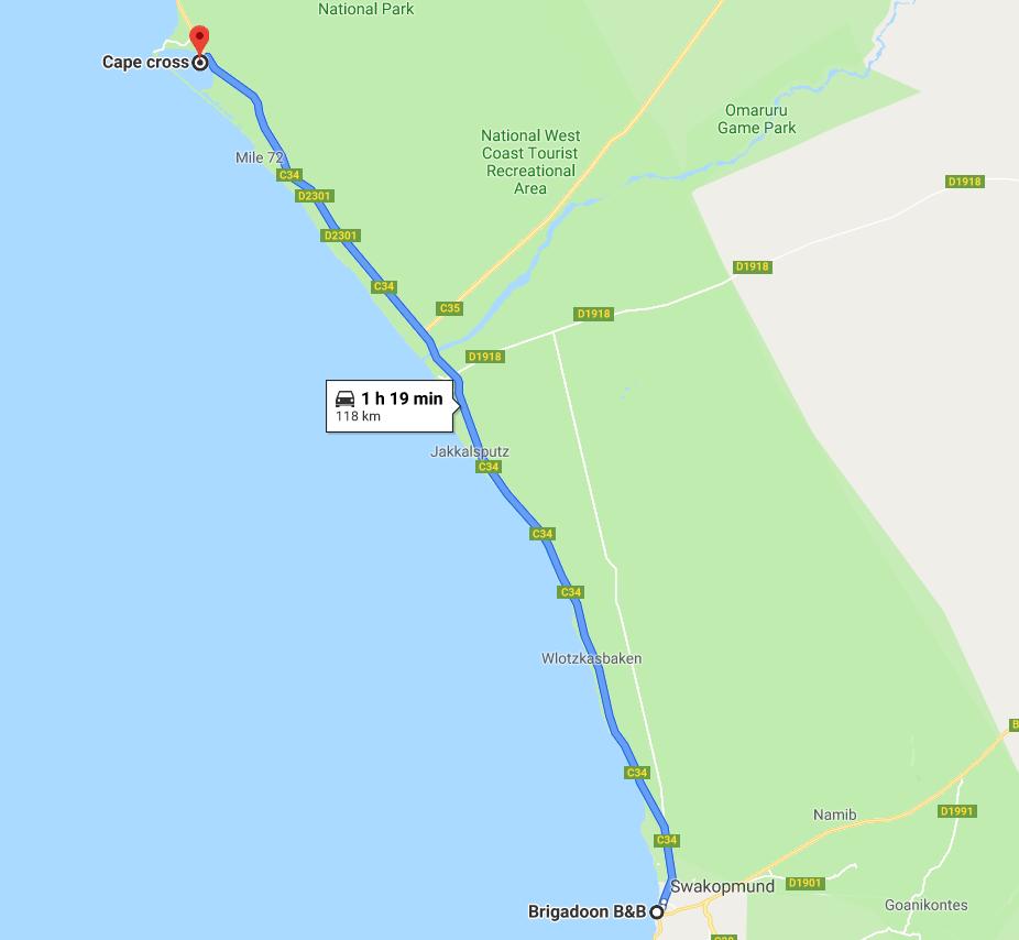 Itinéraire Cape Cross
