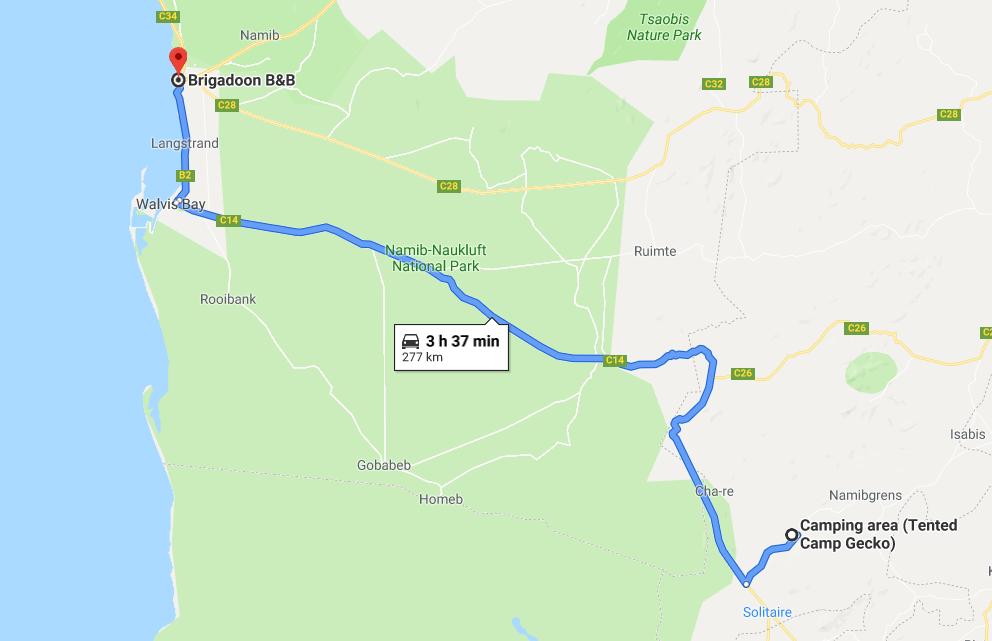 Itinéraire Swakopmund