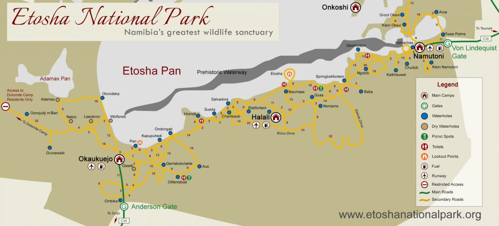 Carte route Etosha