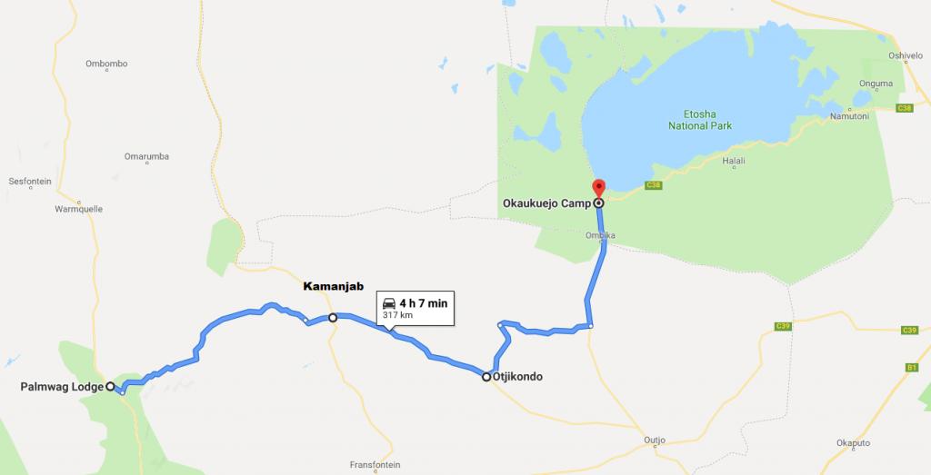Itinéraire Okaukuejo