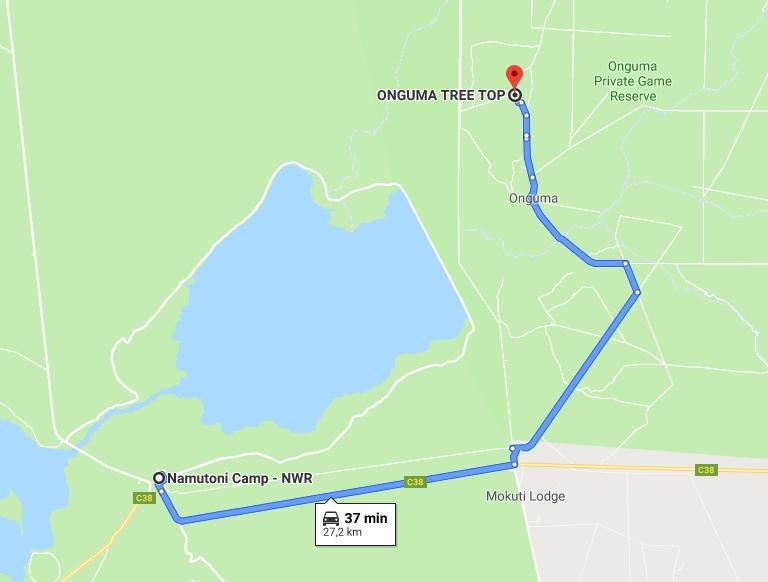 Itinéraire Onguma