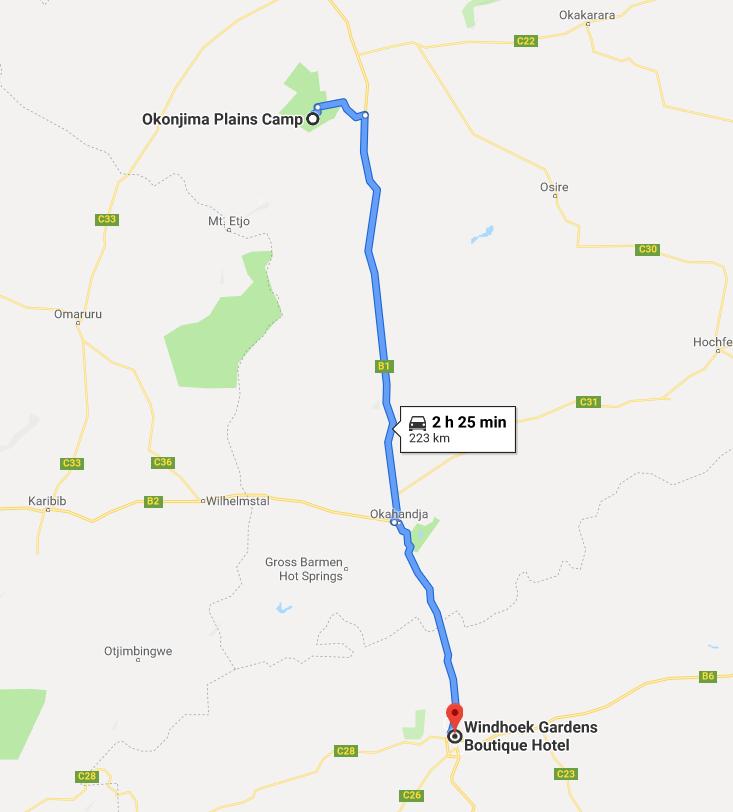 Itinéraire Windhoek