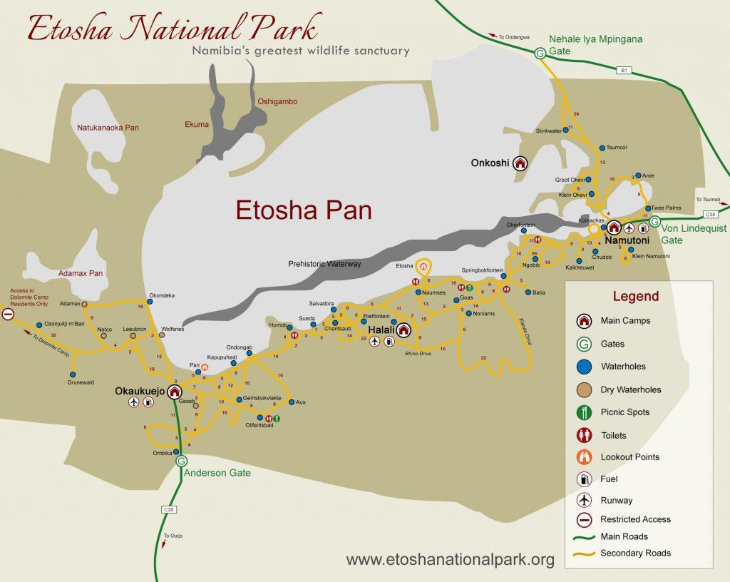 Carte pan d'Etosha