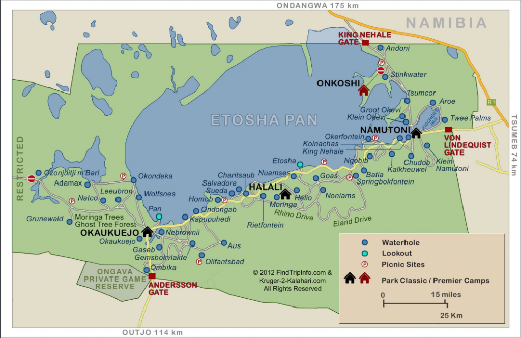 Map plan d'eau Etosha