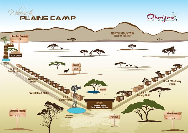 Okonjima plains camp map