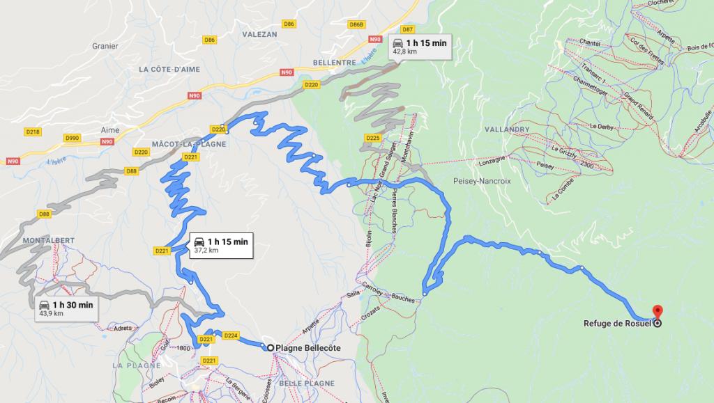 Itinéraire refuge de Rosuel